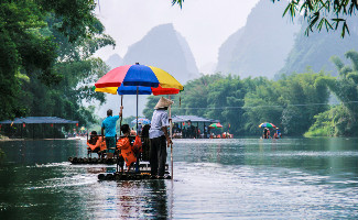 Bamboo raft Yulong River