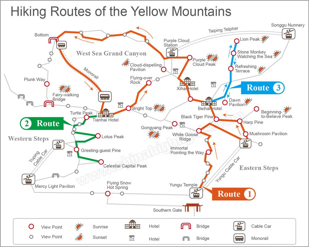 the yellow mountains hiking map